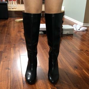 Franco Sarto black leather knee high boots